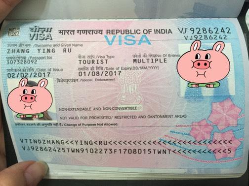 印度觀光簽證示意圖