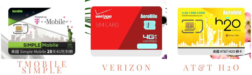 美國電信商-Verizon.AT&T H2O.Tmobile Simple