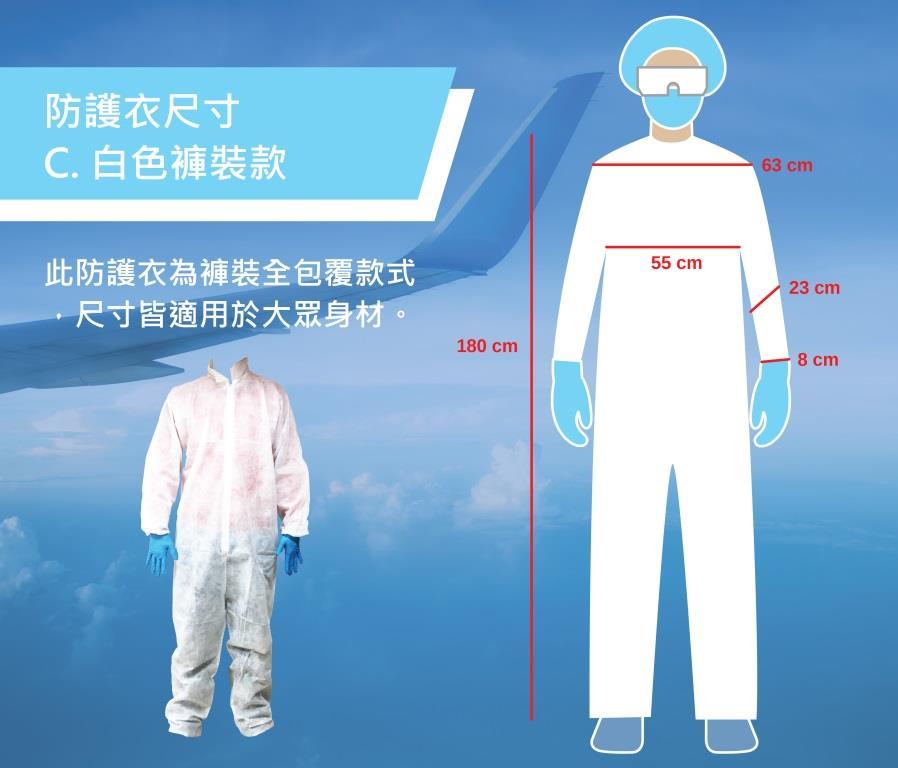 防護衣 - 不織布褲裝 拋棄式隔絕液體噴濺接觸病毒.空氣傳播