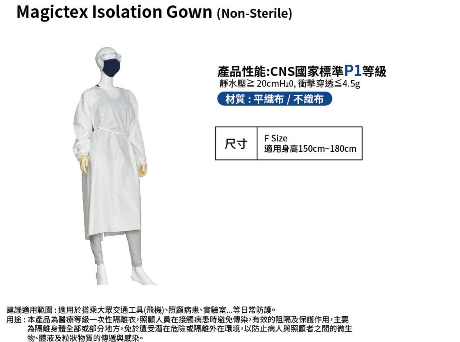 P1 - 醫用標準防護衣 隔離衣-搭機出國、照顧病患、實驗室、日常防護防護衣